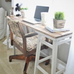 Come see how to make a slim & simple desk out of barstools. A cheap & easy way to add a lovely desk to any room of your home.