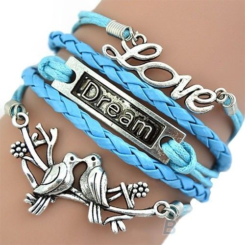 Beautiful bright blue leather bracelet with motives via Freaks4fashion Online Store. Click on the image to see more!