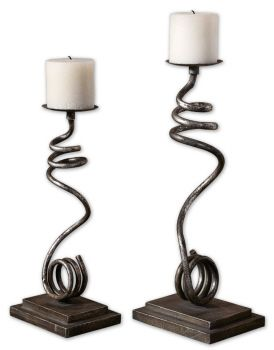 Jarek, Candleholders, S/2 - This set of candleholders is made of hand forged metal with an antiqued silver leaf finish. Distressed off-white candles included. Sizes: Sm-6x14x4, Lg-7x17x5.  Designer: Grace Feyock.