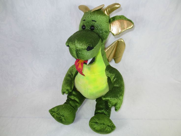 """Sitting, 14"""" CUTE PLUSH GREEN DRAGON ~ Build-a-Bear ~Red Tongue Goldtone Wings #BuildaBear #Anycollectibleortoy"""
