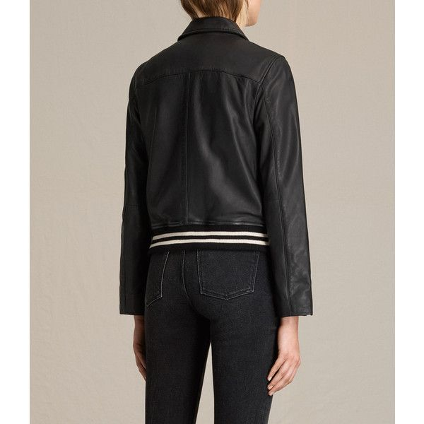 AllSaints Balfern Leather Bomber Jacket ($560) ❤ liked on Polyvore featuring outerwear, jackets, black, bomber jacket, real leather bomber jacket, blouson jacket, leather bomber jackets and leather jackets