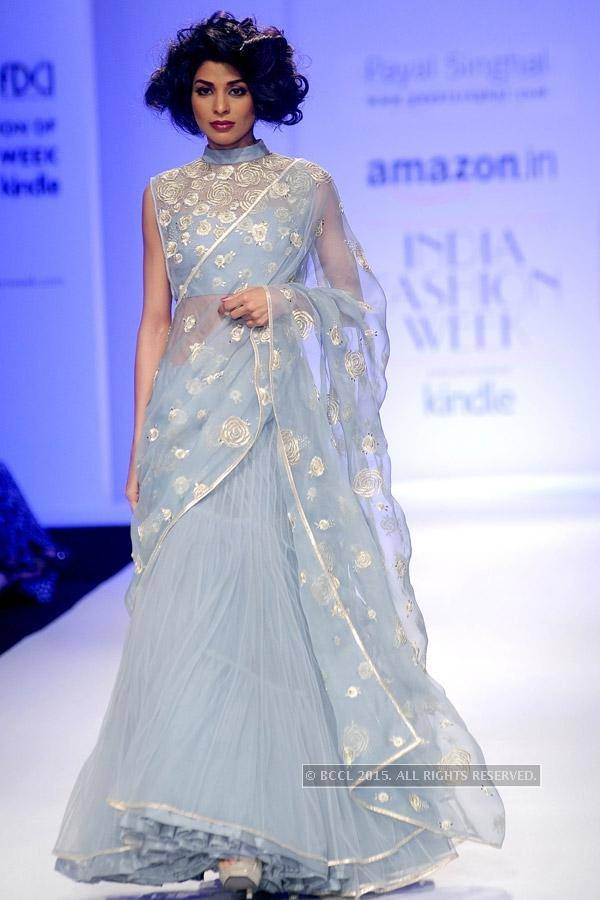 Donna walks the ramp for Payal Singhal during the Day 1 of Amazon India Fashion Week Autumn-Winter 2015, held in New Delhi.