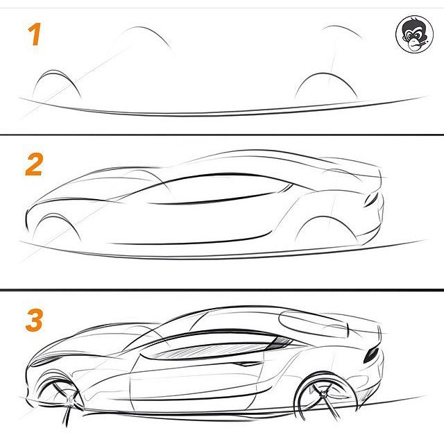 How to sketch a car from a complex perspective. Don't overthink it. Start with the axels and put the wheels out to get a nice base. Then, with as few lines as possible, see if you can get the profile or silhouette of the car down. Once you have the proportions, the rest is easy. Because now you can see where everything goes, you have a guide. If you like, download this image and practice this perspective using the top base layout. Have a great Saturday! #TheSketchMonkey #design #cardesi...