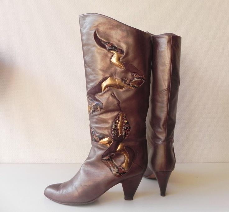 Slangen snake kalfsleren laarzen (1593) #vintage #snake #boots