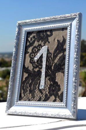 black lace wedding table number diy