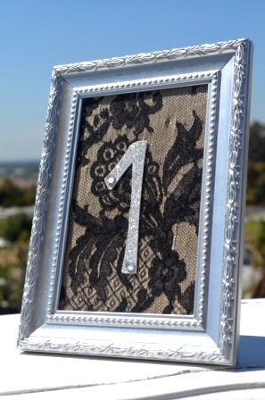 black lace wedding table number diy