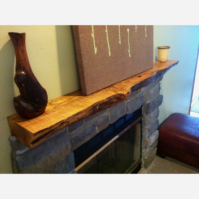 First Wood Project Live Edge Mantel In 2019 Fireplace