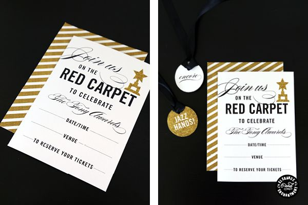 Red Carpet Award Show Party Printables Invitation And