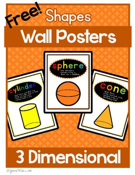 Learning the 3D shapes with his bright and colorful set of shapes posters. This…