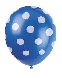 Tolle Luftballons im Punkte Design in blau als süße Dekoration auf einer Kinderparty oder einem Kindergeburtstag. Die Ballons findet ih bei www.party-princess.de