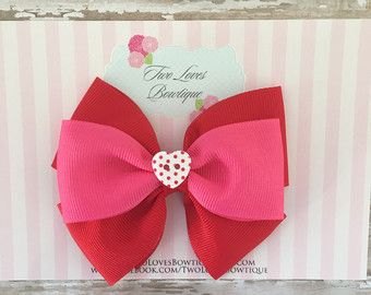 Hair bows Valentine's Day hair bow heart hair by TwoLovesBowtique
