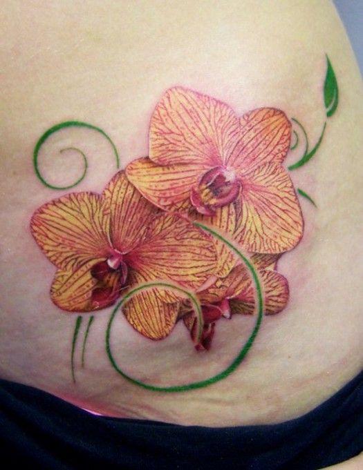 charming floral tattoo images , Splendid Orchid Tattoos -Tattoo 4 Me