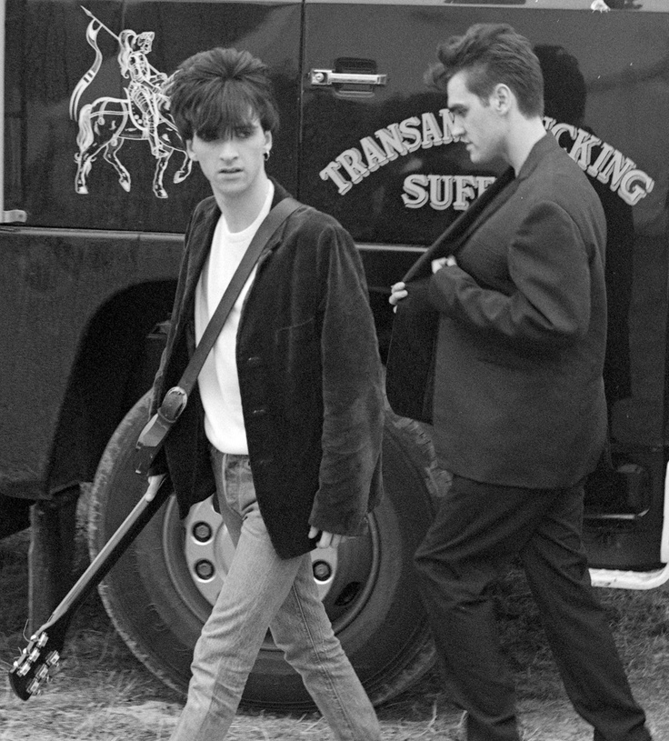 Johnny Marr and Morrissey: The Smiths backstage at Glastonbury Festival on June 23, 1984 ― photo by Paul Norris.