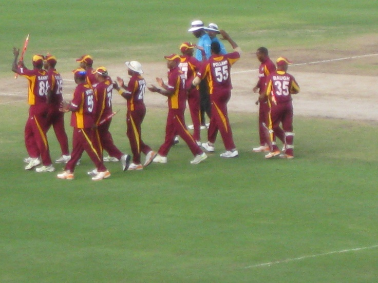The Windies celebrate taking out the second T20.