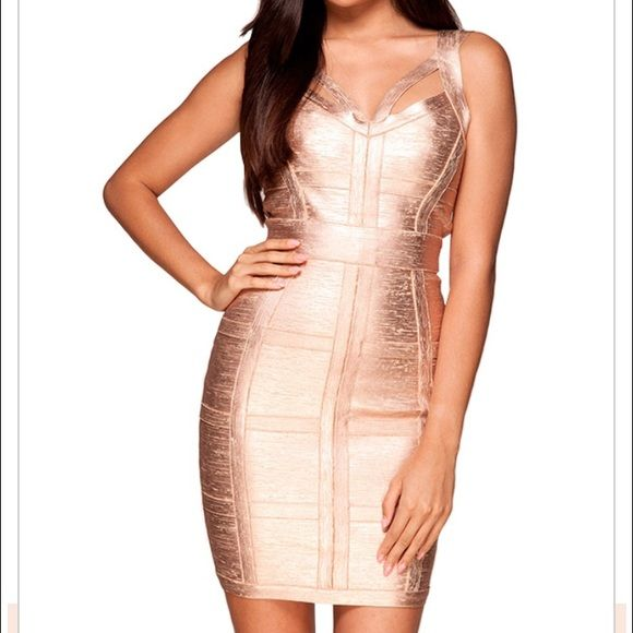 Danielle Rose Gold Bandage Dress Rose gold fitted dress with cute straps Celeb Boutique Dresses
