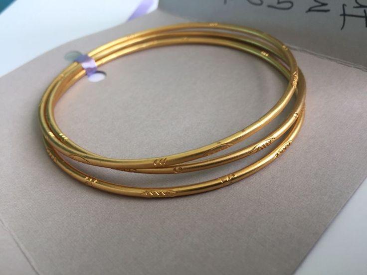 John Michael Richardson Matte Finish Etched Gold Metal 3 Bangle Set Bracelets  | eBay