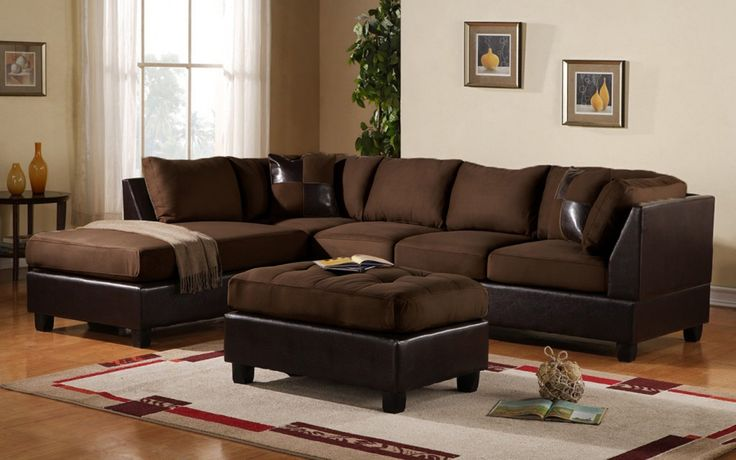 3 piece modern soft reversible microfiber and faux leather for Brown microfiber sectional with chaise