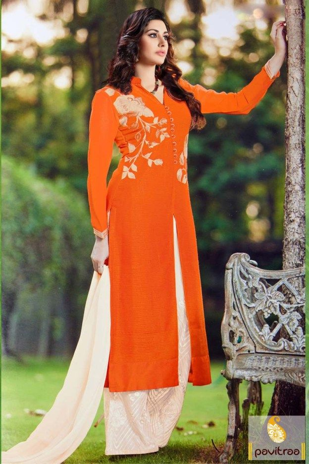#Latest, Orange and Cream, Chiffon, #Palazzo, # Party Wear, #Georgette, #Santoon, #Gracefull, #Fashionable, #Trendy, #New Collection, #Indian Fashion, #Designer.