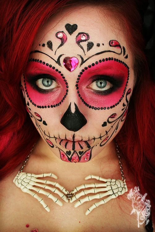 sugar skull makeup with no white face paint---this would be an idea for my daugher---no white paint to clog her pores up and break her out!