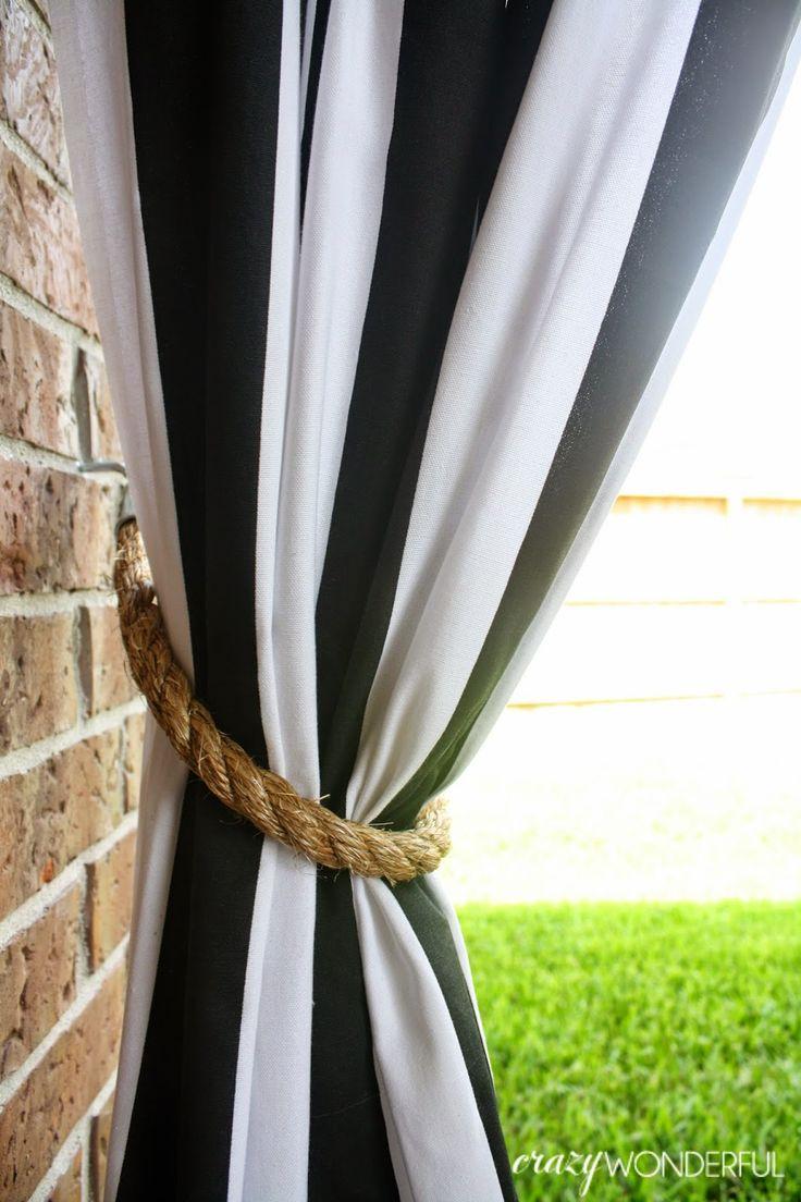 Crazy Wonderful Patio Curtains DIY Rope Tieback Crazy Wonderful Blog Diy Curtains