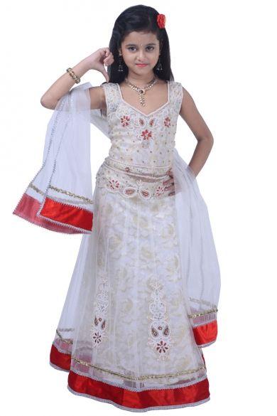 Off-white Net and Jacquard Embroidered Party and Wedding Lehenga Choli Sku Code:343-4605KLL885523 $ 62.00