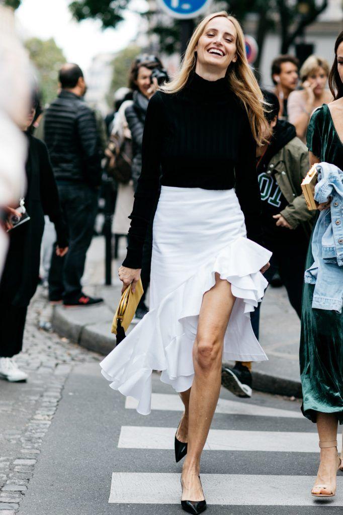 Black turtleneck sweater, white asymmetrical ruffle skirt and black kitten heels.   @thelsd