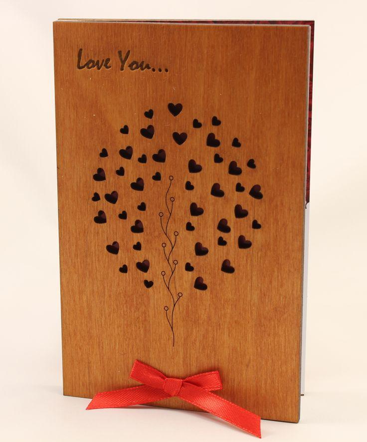wedding anniversary greeting cardhusband%0A Love tree Wood Card original Wooden Gift  Prezent   Year  th wedding  Anniversary gifts