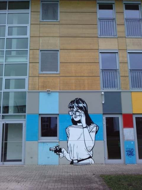 Murals at the youth hostel in Bielefeld, Germany.