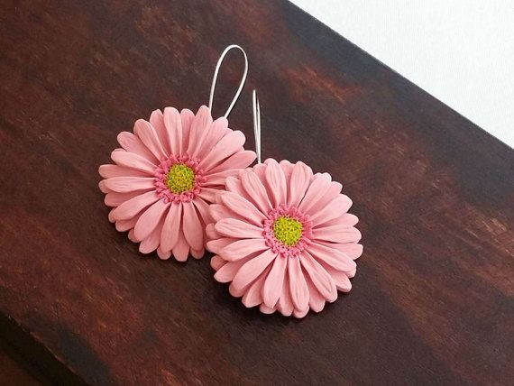 Pink Gerbera Daisy Earrings From Polymer Clay by EvasCreationsShop