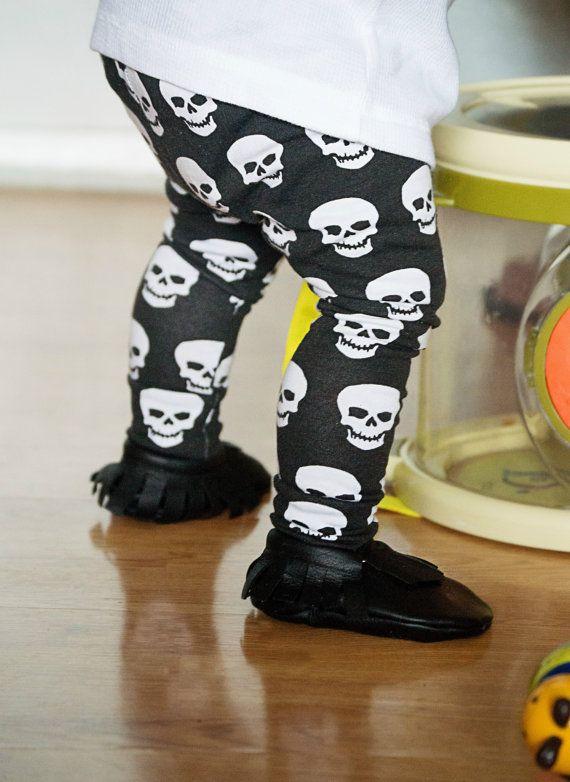 White Skull Black Baby Leggings for Boy Girl Trouser Leggin Pants Infant Toddler