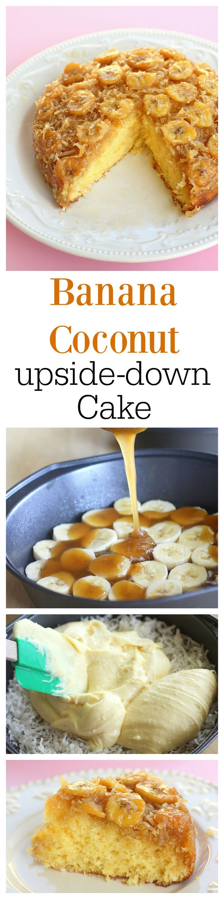 This Banana Coconut Upside Down Cake has a layer of bananas and coconut with a brown sugar sauce infusing every bite. http://the-girl-who-ate-everything.com