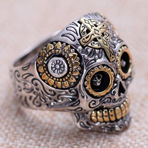 Men's Sterling Silver Cross Skull Ring