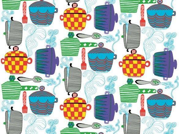 Tessuto stampato in cotone KATTILA by Marimekko | design Maija Louekari