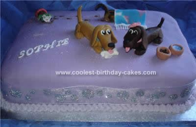 Homemade Dachshund Dog Birthday Cake: This Homemade Dachshund Dog Birthday Cake was a 14x10 chocolate sponge filled with chocolate butter icing and coated in chocolate fudge frosting followed