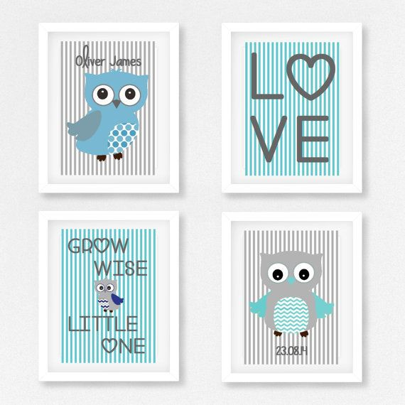 Owl Nursery Print, Baby Boy Nursery Decor, Owl Nursery Art, New Baby Gift, Blue and Grey Nursery Print, Personalized Birth Print,