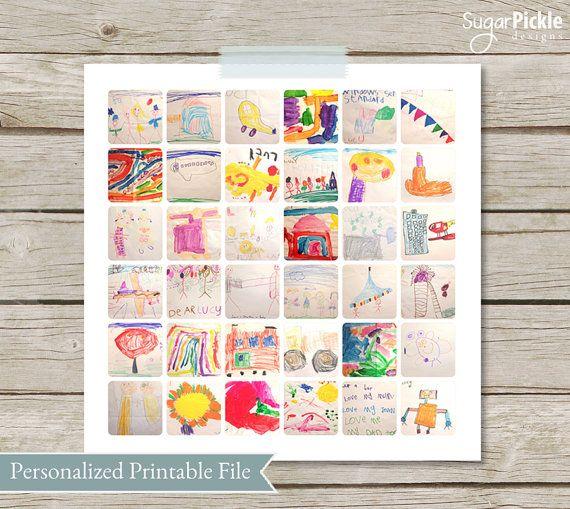 Children's Art work Collage, Kids Art Display,  Gift for Mom, Child College, instagram collage