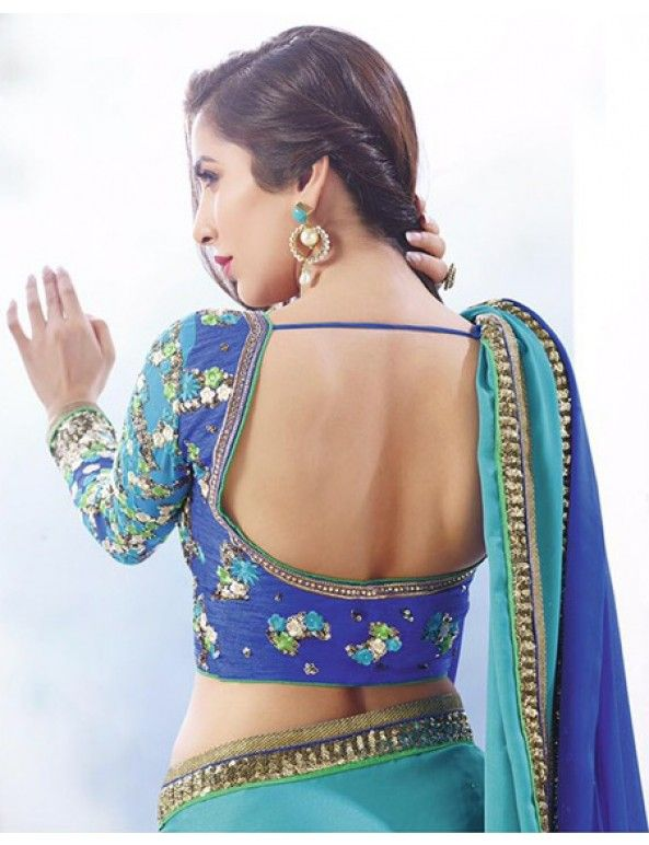 Sophie Choudry In Dark Blue And Sky Blue Shaded Satin Georgette Saree