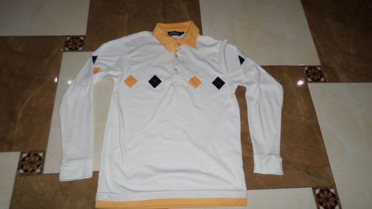 Men's Crossby Long Sleeve Polo Shirt Size L White Original Top casual Cotton #Crossby #PoloRugbyLongSleeve