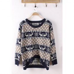 Cartoon Deer And Snowflake Pattern Asymmetrical Hem Cotton Color Matching Sweater For Women
