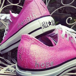 Breast Cancer Awareness Converse Sneakers by TenAngelDesigns, $105.00