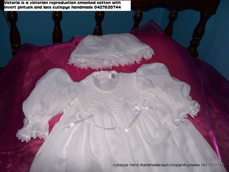 victorian heirloom smocked gown 85cm long