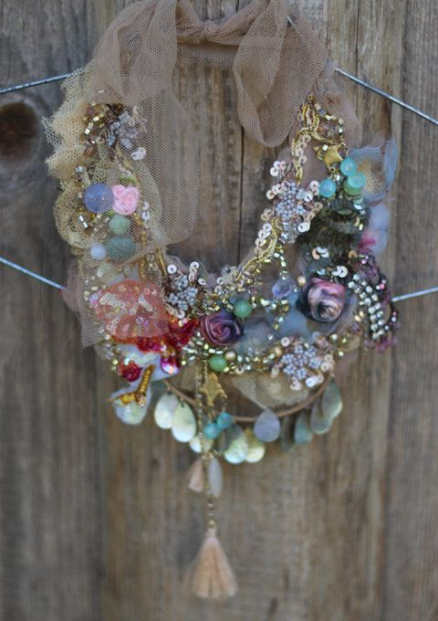 RESERVED- Elfin- delicate bold shabby chic statement necklace