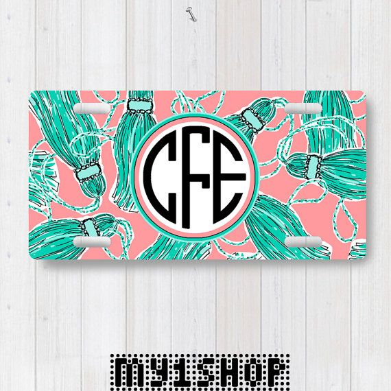 Personalized Monogram License Plate. Custom License Plate. Front License Plate. Tassels on Coral