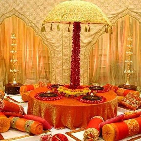 Indian Home Decor Ideas That Reflect Indian Culture: Bengali Wedding Guide: Gaye Holud Or Turmeric On The Body Stage Decoration Idea