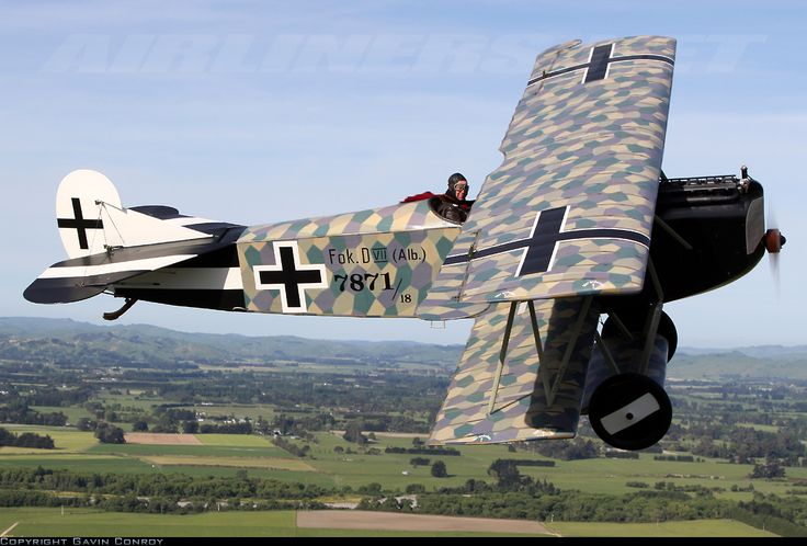 "Fokker D.VII ""This NZ aircraft is a reproduction originally made for the Blue Max and much improved by the Vintage Aviator Limited using original plans and drawings. It has a British six cylinder but with dummy head mouldings to make it identical in appearance to the Mercedes. One of my favourites."" KB"