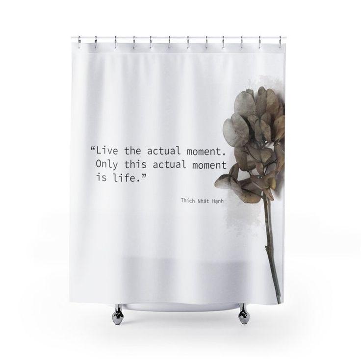 Mindfulness Quote Shower Curtain Zen Bathroom Decor