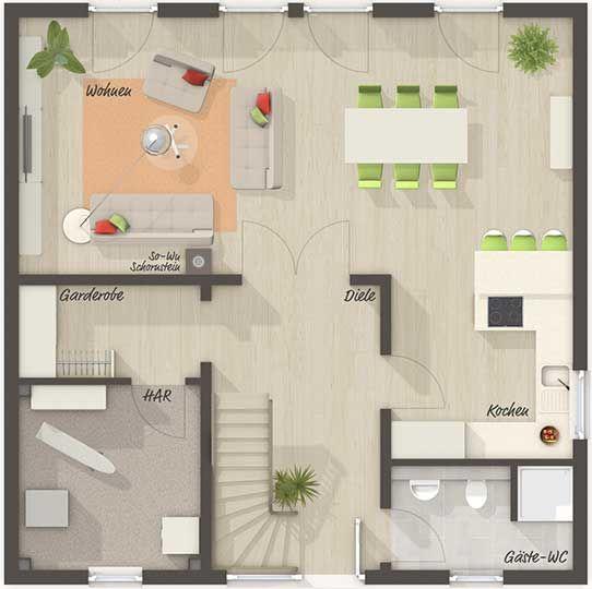 Die Stadtvilla 145 Grundriss Erdgeschoss Ihr Town