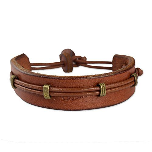 NOVICA Mens Leather Wristband Bracelet 85 L Stand Alone in Tan ** Learn more by visiting the image link.