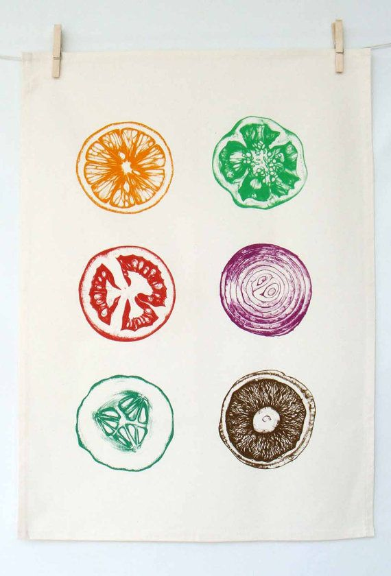 Hand Printed Tea Towel by Washhouse on Etsy, $18.00