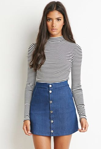 Buttoned Denim Skirt | Forever 21 | #thelatest